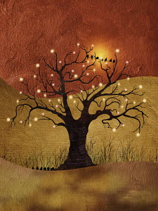 Birds perched on wire in bare tree with glowing lights