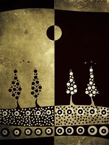 Positive and negative day and night pattern of trees and soil