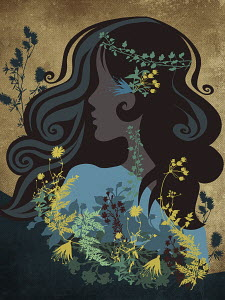 Hippy woman with flowers and leaves in hair