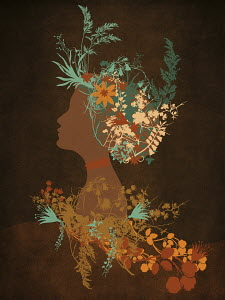Profile of elegant woman with flower and leaf hairstyle