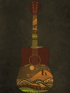 Guitar decorated with idyllic landscape