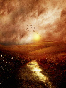 Atmospheric red sunset over path in remote rolling landscape