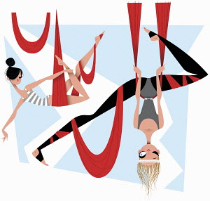 Women doing aerial yoga in slings