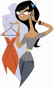 Smiling woman talking on cell phone and holding red cocktail dress on hanger