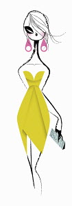 Glamorous woman in strapless yellow cocktail dress