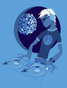 Male DJ spinning records at turntable in nightclub