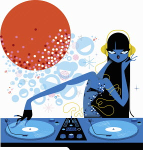 Female DJ spinning records at turntable in nightclub