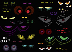 Variety of bright colorful pairs of eyes in black background