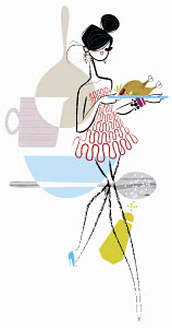 Glamorous woman carrying serving platter with roast turkey