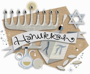 Hanukkah symbols and banner