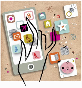 Hand choosing among variety of mobile apps on smart phone