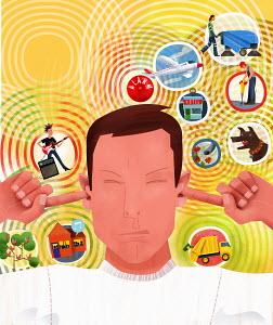 Noise symbols surrounding irritated man plugging ears