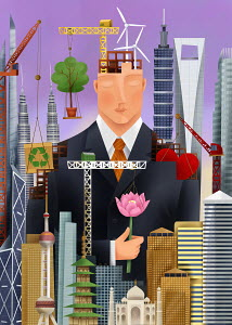 Serene businessman surrounded by environmental conservation symbols, international landmarks and building construction