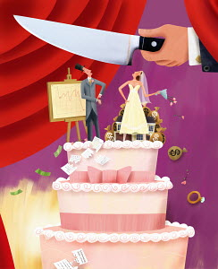 Large knife over bride and groom on wedding cake dividing assets