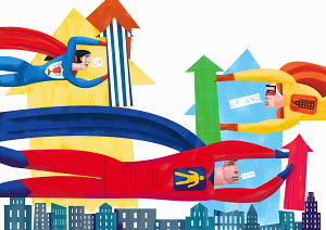 Superheroes with ascending arrows flying above city