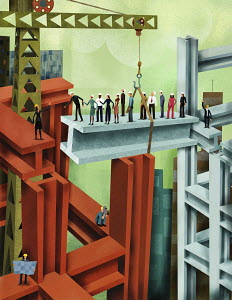 Business people working together bridging the gap on highrise girder
