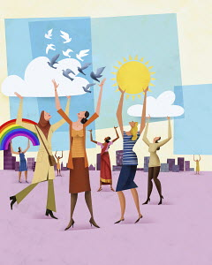 Multi-ethnic group of happy, confident women working together to hold up sunny blue sky