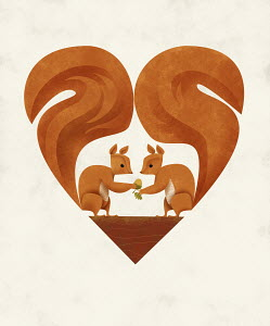 Two squirrels in love with tails forming heart shape