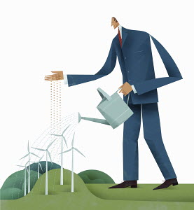 Businessman sowing seeds and watering wind turbine