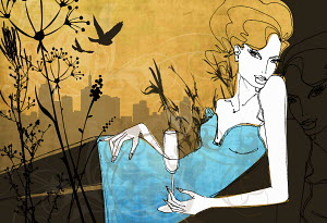 Glamorous woman reclining in city park drinking champagne