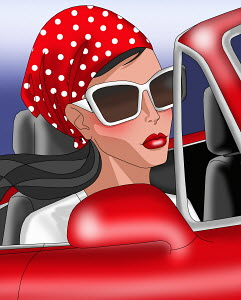Glamorous woman with sunglasses in red sports car