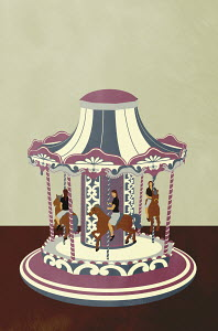 Businesswoman going round in circles on carousel