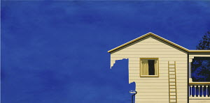 House disappearing as paint roller paints it sky blue