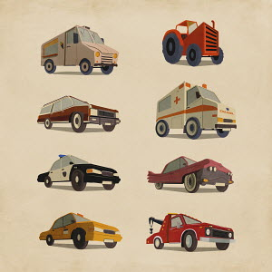 Variety of retro cars and trucks
