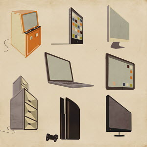 Modern and old-fashioned computer, entertainment and video game technology