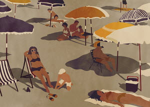 People sunbathing on quiet beach