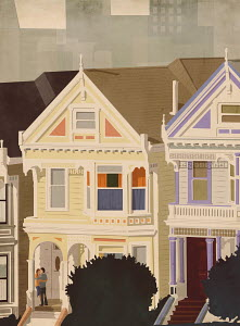 Couple embracing on porch of Painted Ladies house, San Francisco, United States