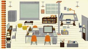 Vacant architect's design studio