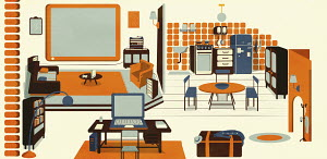 Open plan home office interior