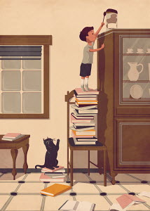 Boy standing on pile of books reaching for cookie jar