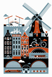 Tourism montage of famous landmarks in Amsterdam