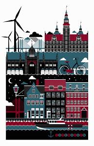 Tourism montage of famous landmarks in Copenhagen