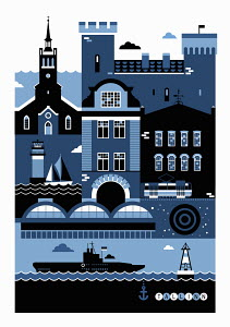 Tourism montage of famous landmarks in Tallinn