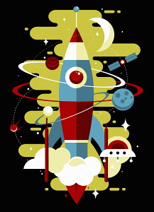 Retro rocket exploring outer space with orbiting planets, satellite and spaceship