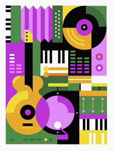 Bright color abstract pattern music montage