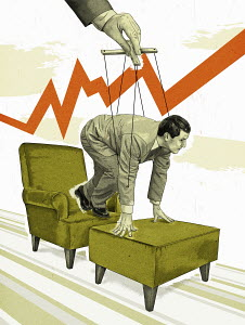 Puppeteer controlling businessman on starting block on armchair below line graph