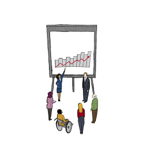Businesswoman explaining growth chart to people in meeting