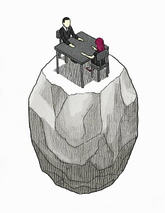 Man and woman sitting face to face at table isolated on rock