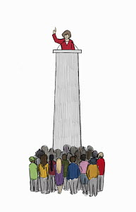 Public speaker addressing audience from high above on tall podium