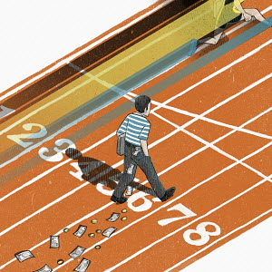 Contrasting fast runner with slow walking man losing money on running track
