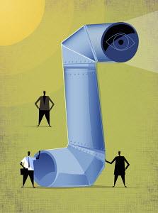 Businessmen admiring large periscope