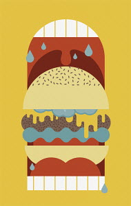 Cheeseburger inside of huge open drooling mouth