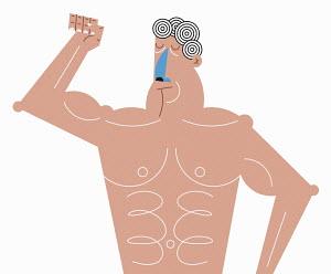 Macho man flexing muscles