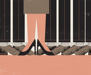 Legs and feet of single businesswoman among row of businessmen