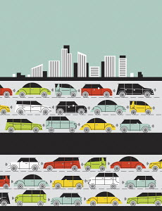 Traffic jam on city highway