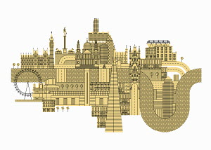 Illustration of lots famous buildings in London